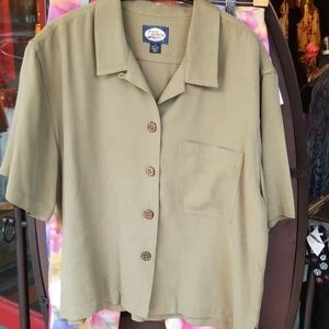 Tommy Bahama Ladies Silk Olive Green Shirt Blouse